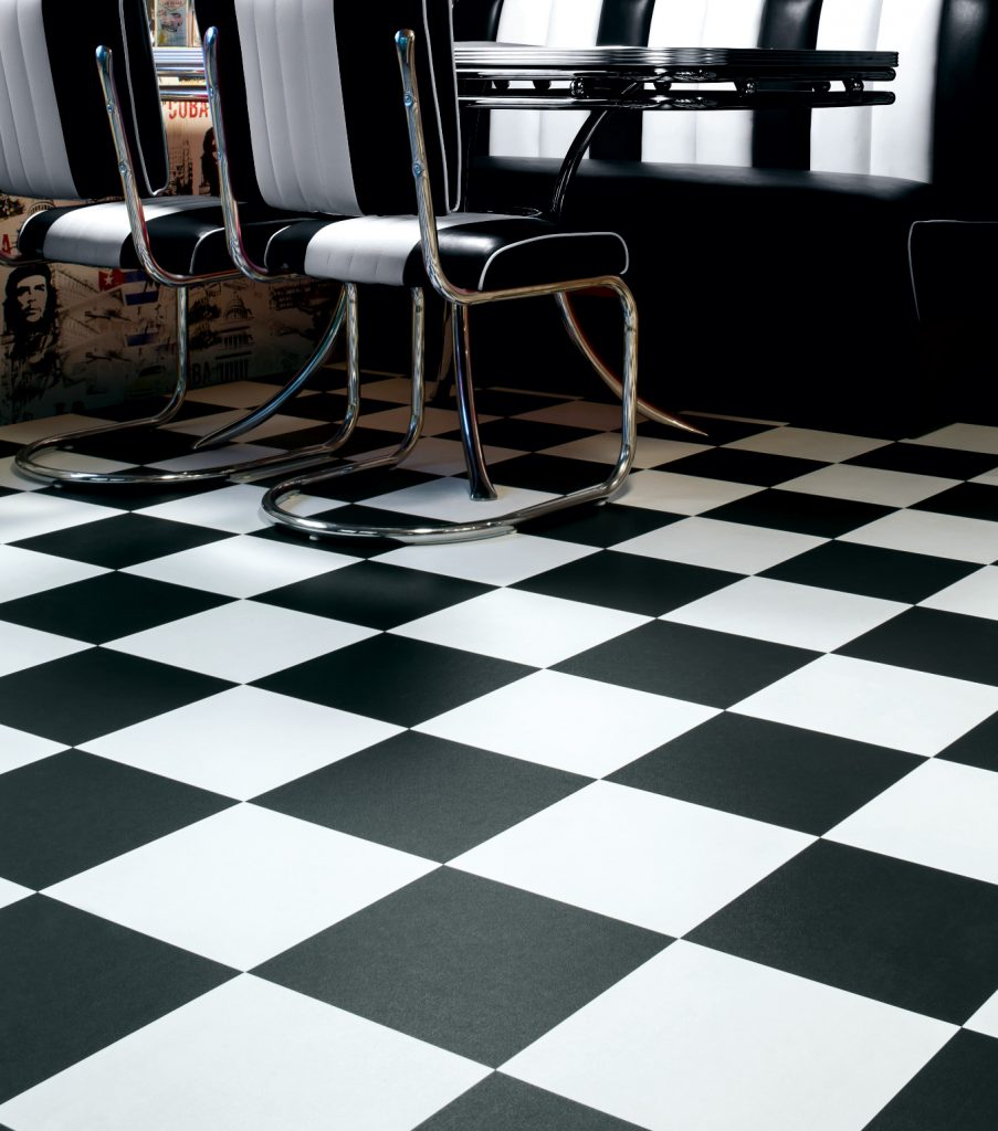 Black and white vinyl tiles from safety flooring uk for Black vinyl floor tiles